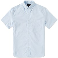 Beams Plus Short Sleeve Button Down Oxford Shirt Blue
