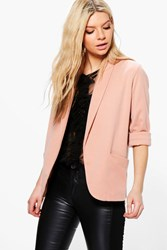 Boohoo Mia Relaxed Pocket Blazer With Wide Cuff Nude