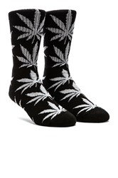 Glow In The Dark Plantlife Crew Socks In Black Glow Huf Glow In The Dark Plantlife Crew Socks
