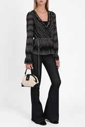 Missoni Lame Ruffle Wrap Blouse Black