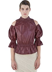 Drome Off The Shoulder Ruffled Leather Top Burgundy