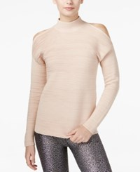 Bar Iii Ribbed Cold Shoulder Sweater Only At Macy's Ballet Pink