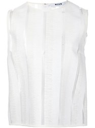 Msgm Sheer Stripe Tank Top White