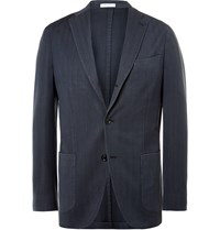 Boglioli Navy Slim Fit Herringbone Wool Blazer Blue