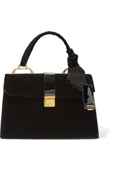 Miu Miu School Velvet And Patent Leather Tote Black