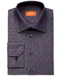 Tallia Men's Fitted Floral Print Denim Dress Shirt Red