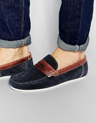 Red Tape Penny Loafers In Blue Suede Blue