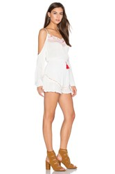 Band Of Gypsies Open Shoulder Long Sleeve Romper Ivory