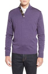 Men's Thomas Dean Merino Wool Sweater Purple