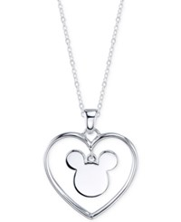 Disney Mickey Mouse Heart 'Forever Yours' Pendant Necklace In Sterling Silver