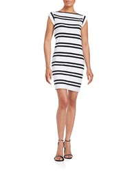 French Connection Striped Knit Dress Navy White