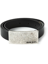 Diesel Rectangular Buckle Belt Black