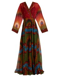 Valentino Enchanted Wonderland V Neck Silk Gown Red Multi