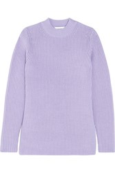 Carven Split Side Ribbed Wool Sweater Lilac