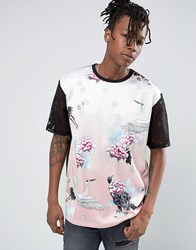 Jaded London T Shirt In Floral Print Pink