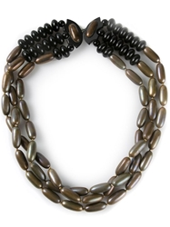 Yves Saint Laurent Vintage Triple Strand Necklace Brown