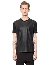 Neil Barrett Faux Leather And Cotton Jersey T Shirt