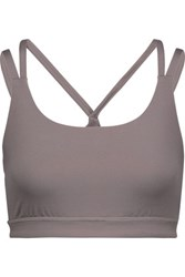 Yummie Tummie By Heather Thomson Sloan Mesh Paneled Stretch Jersey Sports Bra Gray