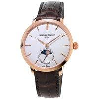 Frederique Constant Fc 703V3s4 Men's Slimline Moonphase Automatic Rose Gold Plated Leather Strap Watch Brown White