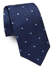 Saks Fifth Avenue Dotted Silk Tie Navy