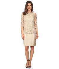 Adrianna Papell Floral Embroidery Peplum Dress Champagne Women's Dress Gold