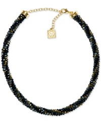 Anne Klein Bead And Crystal All Around Collar Necklace Jet