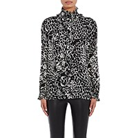 Saint Laurent Women's Ruffle Jaguar Print Blouse Black White Blue Black White Blue