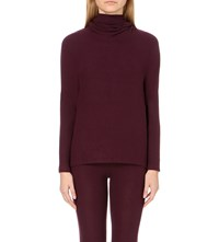 Sundry Hooded Knitted Top Aubergine
