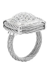 Classique Pave White Sapphire And Diamond Square Cocktail Ring Size 7 Metallic