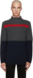 Fendi Navy And Grey Chunky Turtleneck