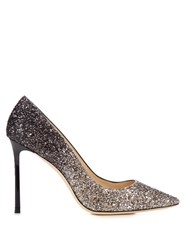 Jimmy Choo Romy 100Mm Glitter Pumps Black Silver