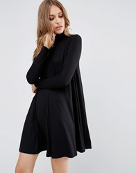 Asos Swing Dress With Polo Neck And Long Sleeves Black