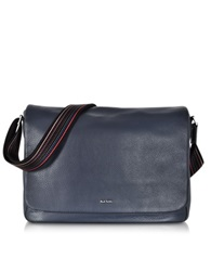 Paul Smith Navy Blue Leather City Webbing Men's Messenger Bag