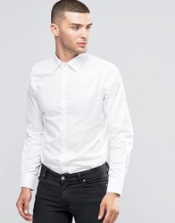 Sisley Slim Fit Shirt With Contrast Buttons White 910