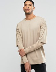 Asos Oversized Long Sleeve T Shirt With Rib Double Layer Sleeves In Beige Beige