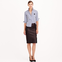 J.Crew Collection Asymmetrical Leather Zip Pencil Skirt