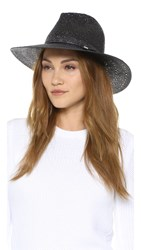 Rag And Bone Straw Wide Brim Fedora Black