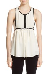 Tory Burch Women's 'Judson' Sleeveless Silk Babydoll Top New Ivory