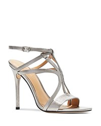 Halston Heritage Karla Strappy Metallic High Heel Sandals Silver