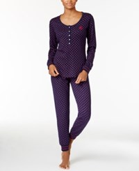 Tommy Hilfiger Thermal Henley Top And Pants Pajama Set Navy Roses