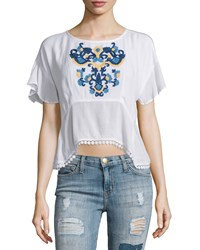 Lovers Friends Iris Short Sleeve Embroidered Top Ivory