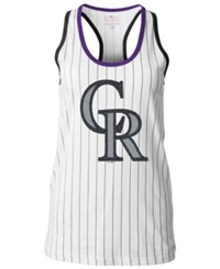 5Th And Ocean Women's Colorado Rockies Pinstripe Glitter Tank Top White