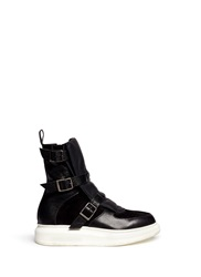 Alexander Mcqueen Buckle Strap Leather Suede Boots Black