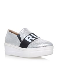 Kg By Kurt Geiger Lover Metallic Flatform Sneakers Female Silver