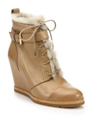 Kate Spade Tay Leather And Faux Fur Booties Black Beige