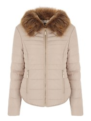 Jane Norman Fur Collar Short Padded Coat Stone