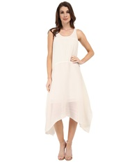 Adrianna Papell Solid Pleated High Low Tank Dress Ivory Women's Dress White