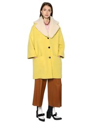 Marni Double Felted Wool Coat With Shearling