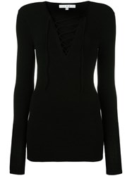 Iro Lace Up V Neck Knit Blouse Black