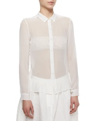 Adam By Adam Lippes Adam Lippes Sheer Chiffon Button Blouse Ivory